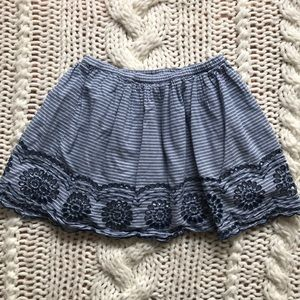 Denim Skirt with Eyelet Embroidery
